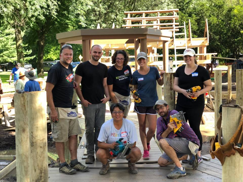 TWMLA Volunteers at Ithaca's Stewart Park Playground Community Build